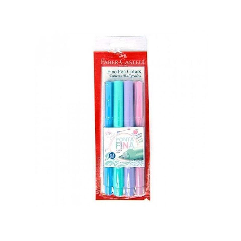 Caneta Fine Pen FC c/ 4 Cores Pastel  - Papel Pautado