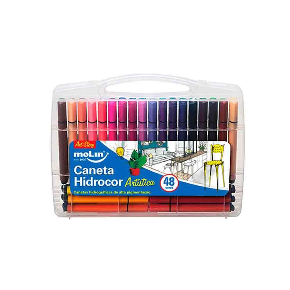 Caneta Hidrocor Maleta Artística Molin 48 cores  - Papel Pautado