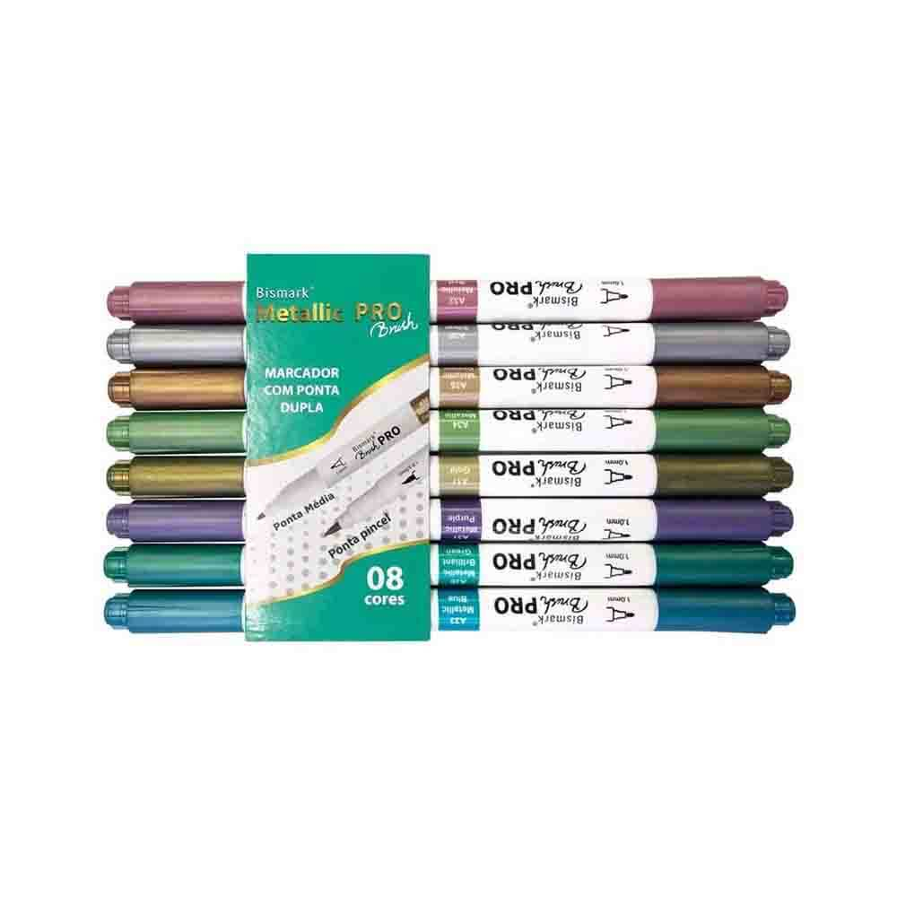 Caneta PRO Brush Metallic Bismark Yes c/ 8 Cores  - Papel Pautado
