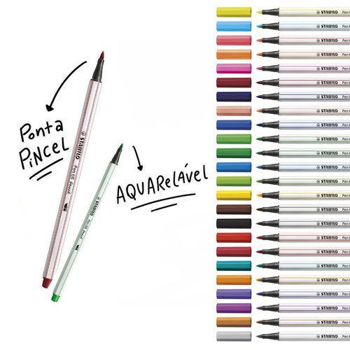 Caneta Stabilo Pen 68 Brush  - Papel Pautado