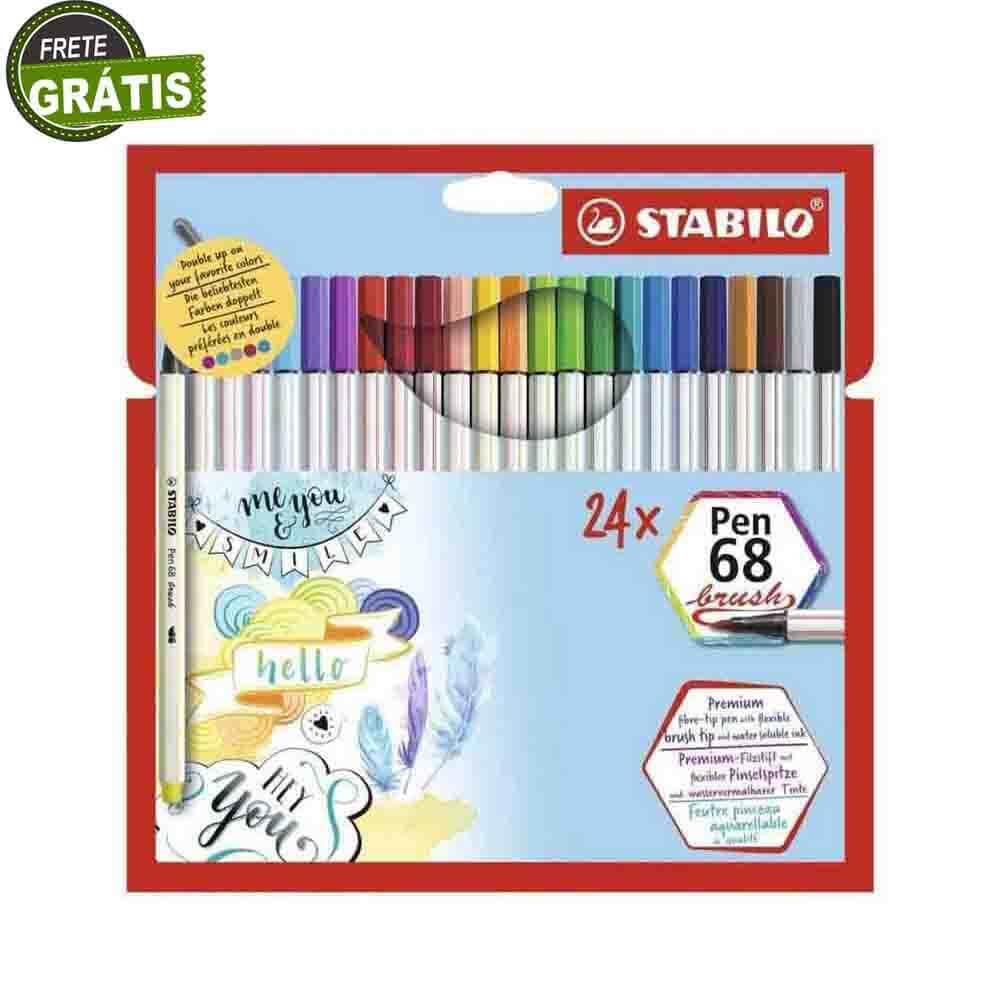 Caneta Stabilo Pen 68 Brush c/ 24 Cores  - Papel Pautado