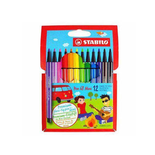 Caneta Stabilo Pen 68 Mini c/ 12 Cores  - Papel Pautado