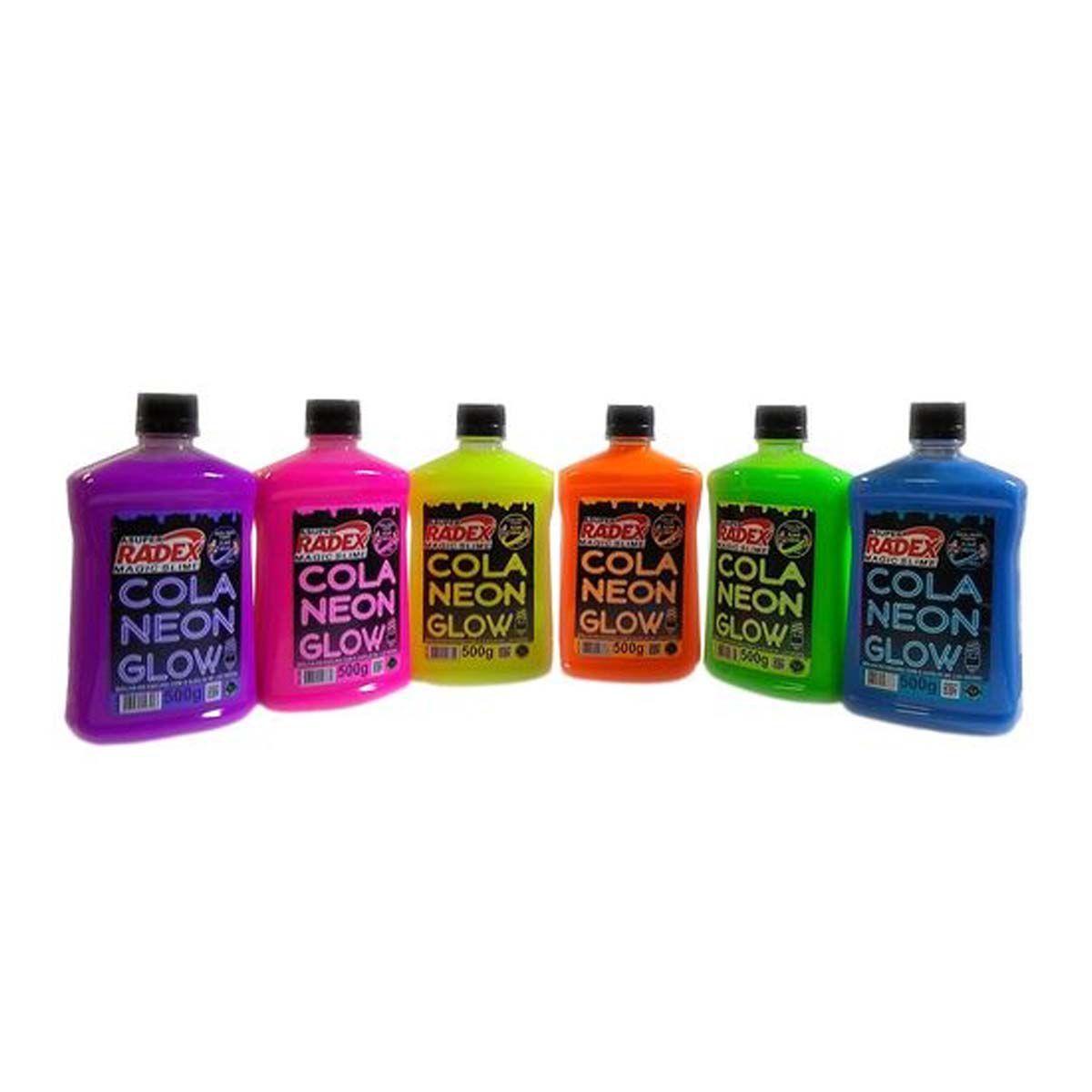 Cola Radex Neon Glow p/ Slime 500g  - Papel Pautado
