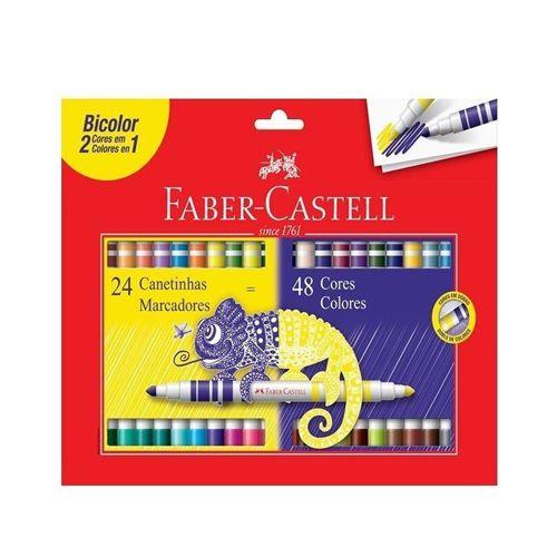 Estojo 24 Canetinhas Marcadores Bicolor 48 cores