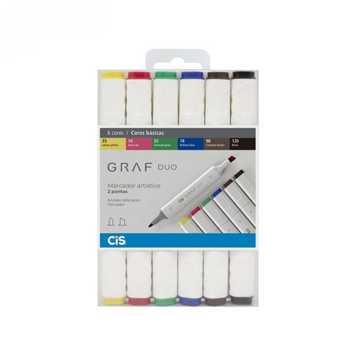Estojo Marcador Graf Duo 6 cores básicas