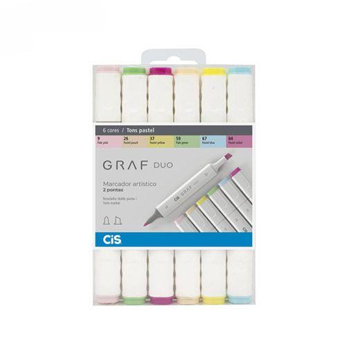Estojo Marcador Graf Duo 6 cores pastel