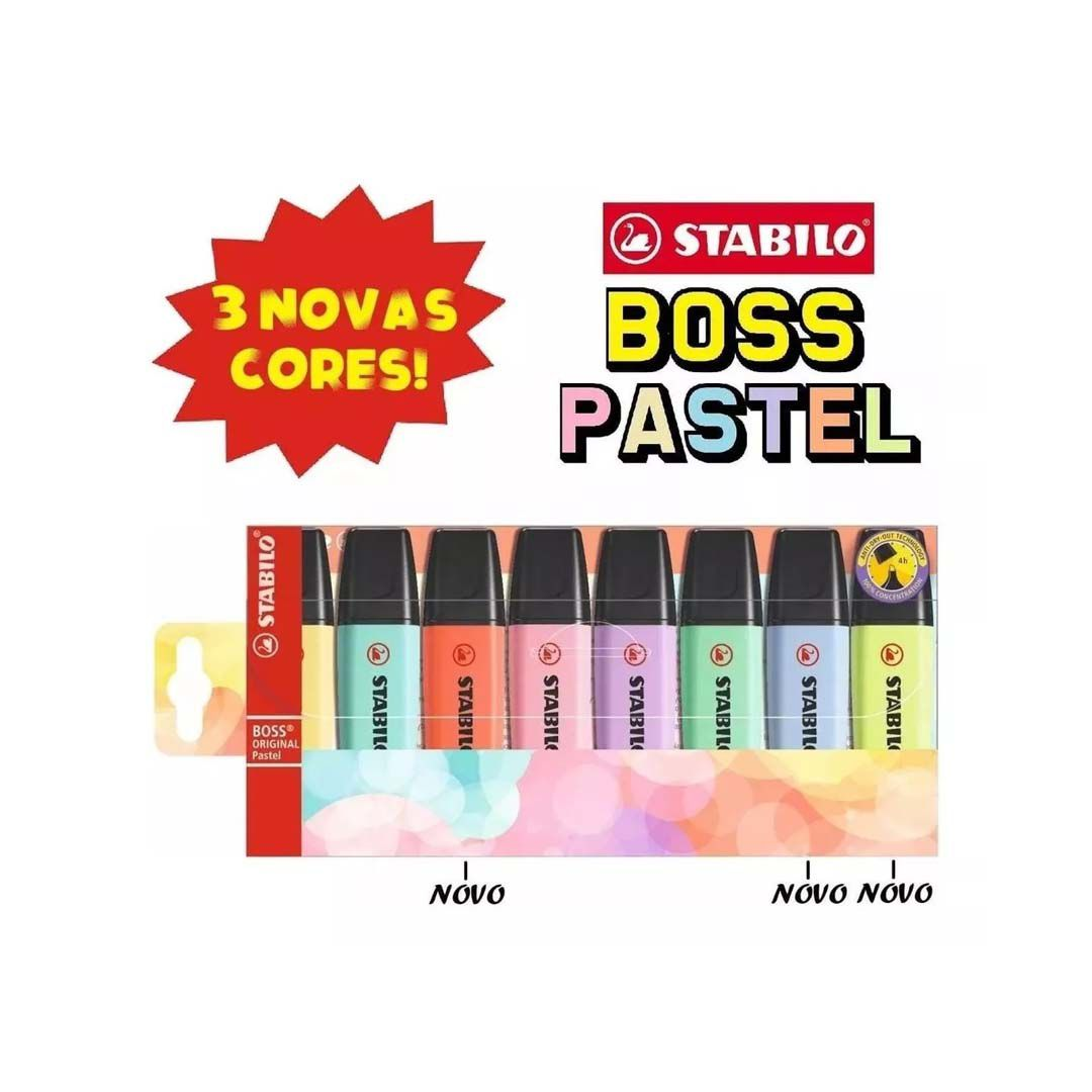Estojo Stabilo Boss Pastel 5 + 3 Cores Novas