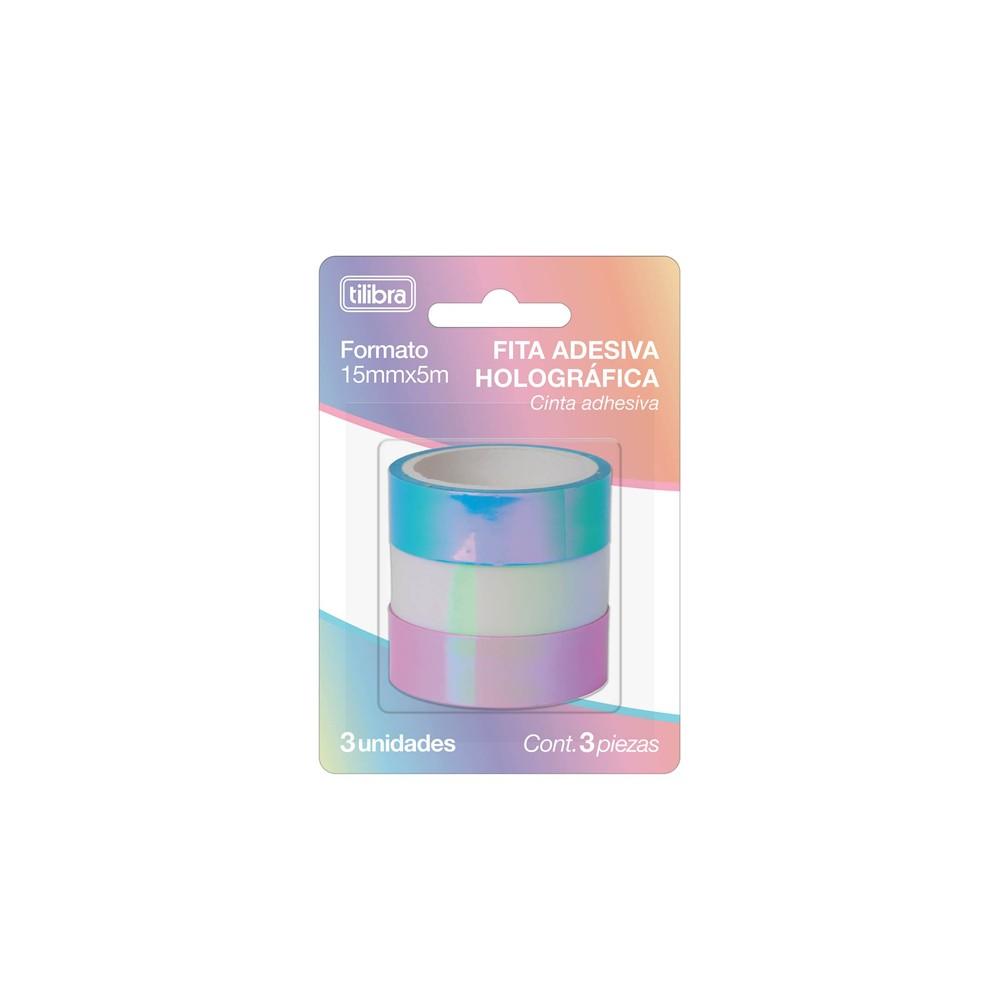 Fita Adesiva Tilibra Washi Tape Holográfica  - Papel Pautado