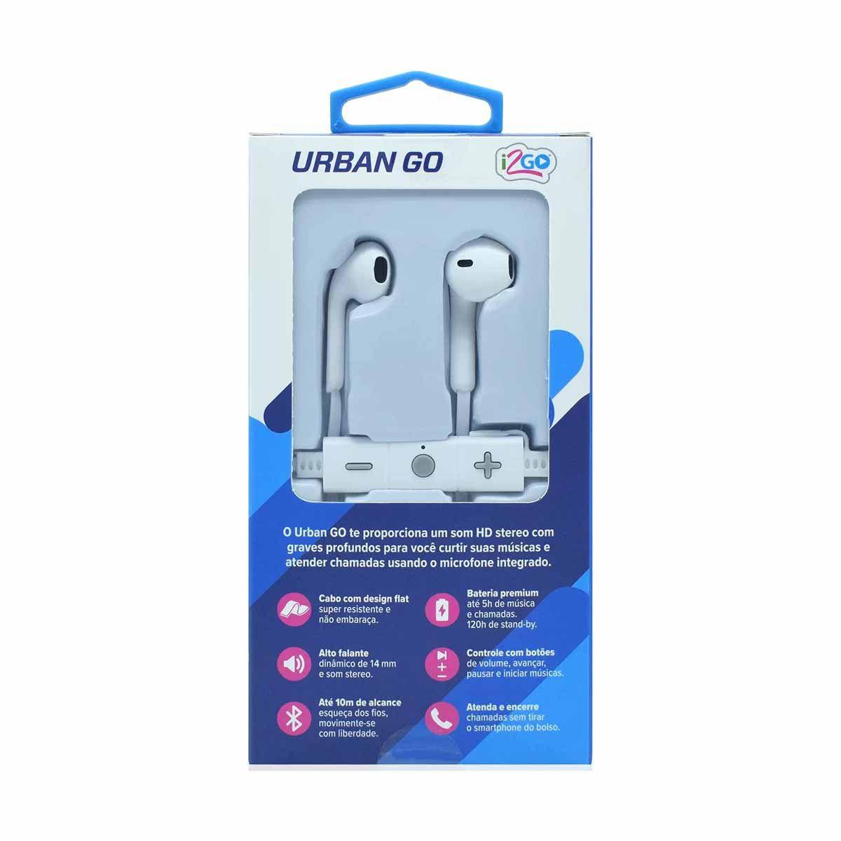 Fone de Ouvido Bluetooth Urban GO Branco  - Papel Pautado
