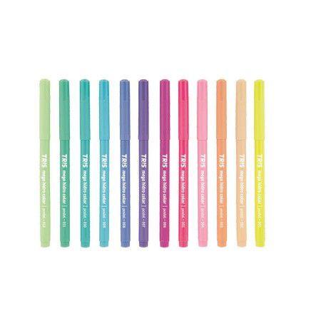 Hidrocor Mega HidroColor Tris Pastel c/ 12 Cores  - Papel Pautado