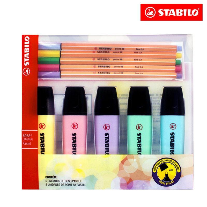 Kit Boss Tons Pastel + 5 Point 88 Tons Pastel - Stabilo  - Papel Pautado