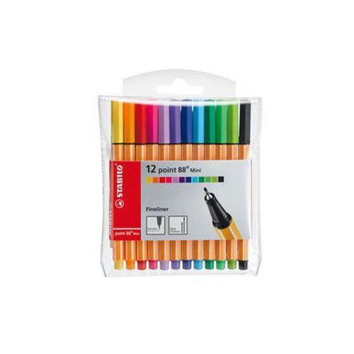 Kit Canetas Stabilo Point 88 Mini - 12 Cores  - Papel Pautado