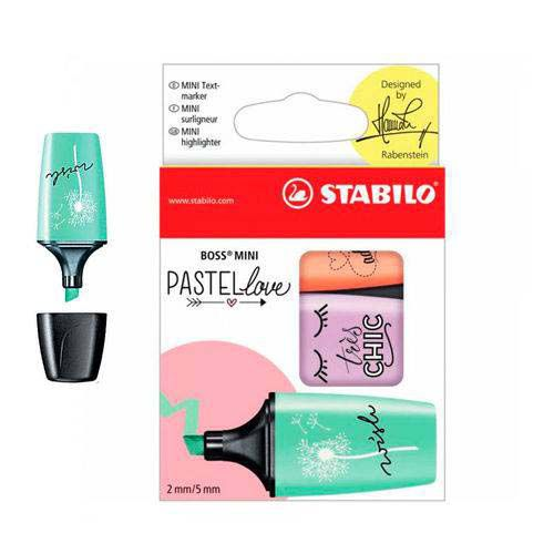 Kit Marca Texto Stabilo Mini Boss Pastel Love 3 Cores