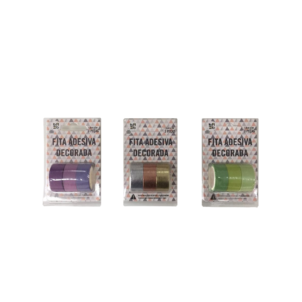 Kit Washi Tape c/ 3 Cores  - Papel Pautado