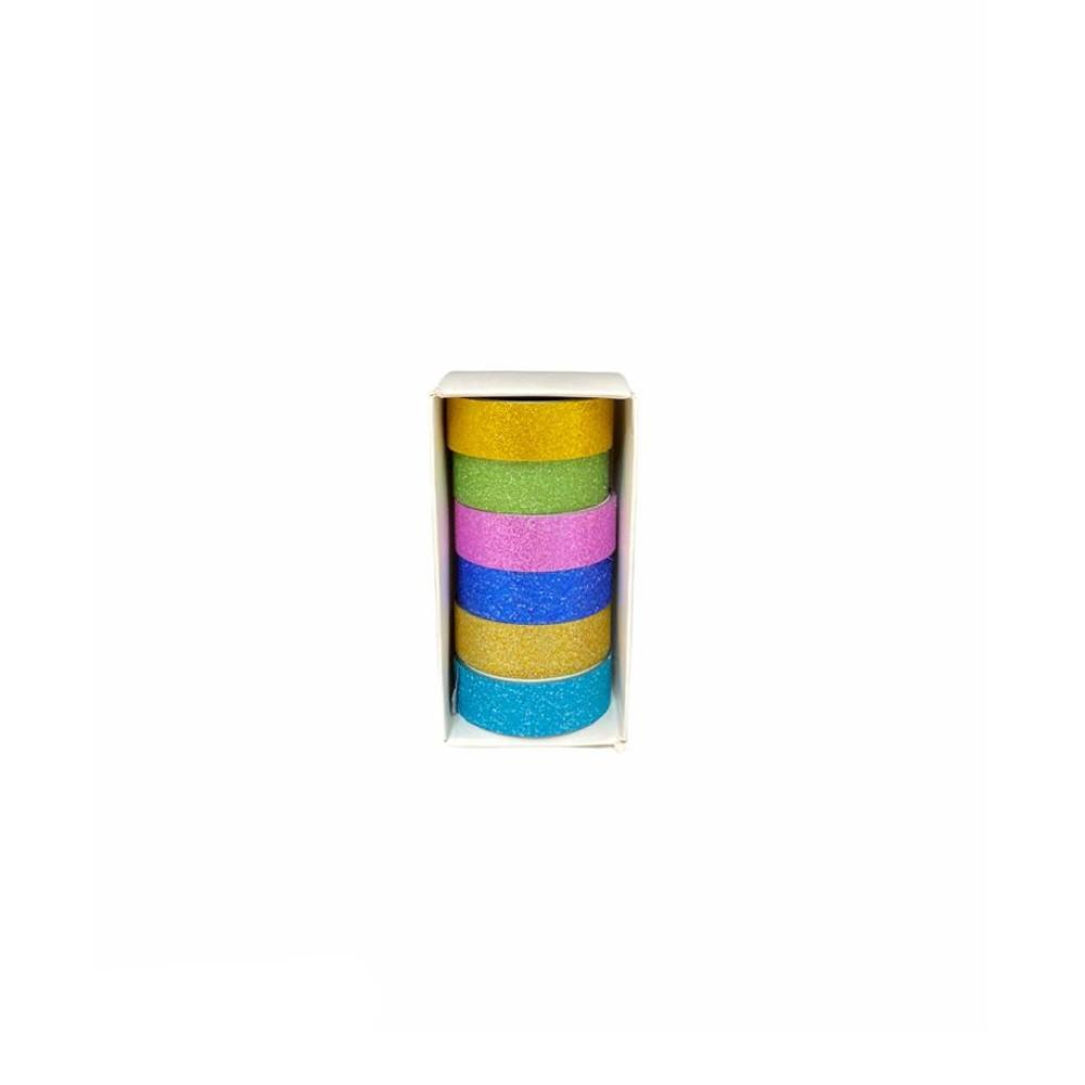 Kit Washi Tape Glitter c/6 Cores  - Papel Pautado