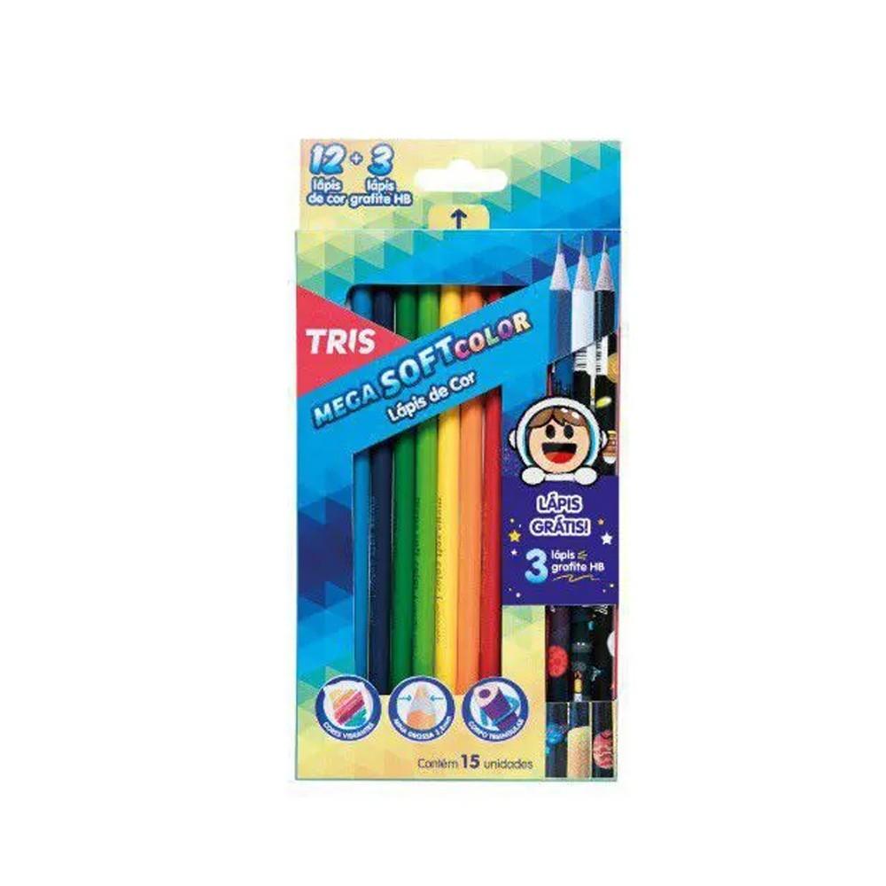 Lápis de Cor Mega SoftColor 12 + 3 Lápis Galaxy  - Papel Pautado