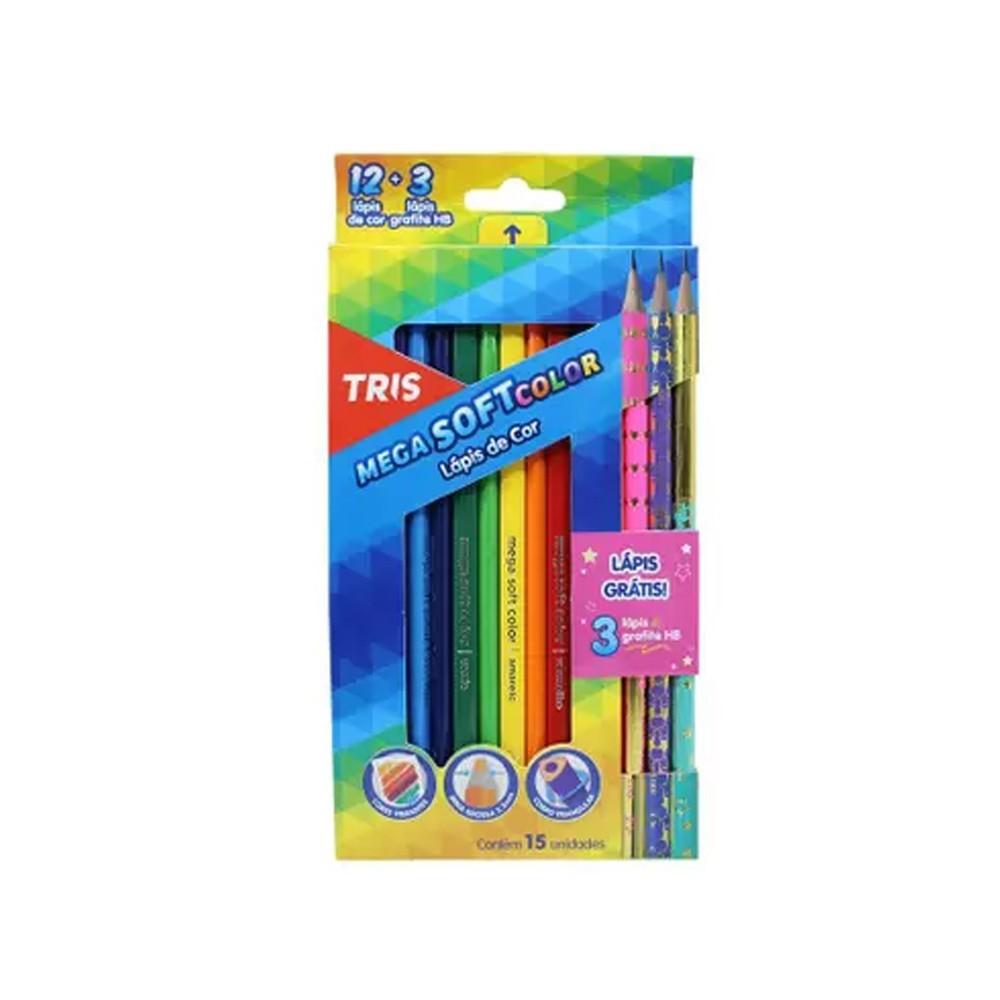 Lápis de Cor Mega SoftColor 12  + 3 Lápis Star  - Papel Pautado