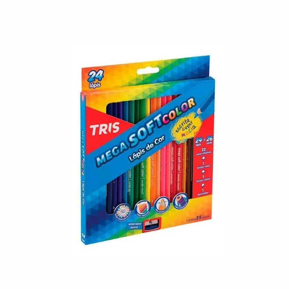 Lápis de Cor Mega SoftColor 24 Cores Tris  - Papel Pautado