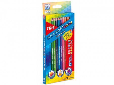 Lápis de Cor MegaSoft 12 Cores Tris  - Papel Pautado