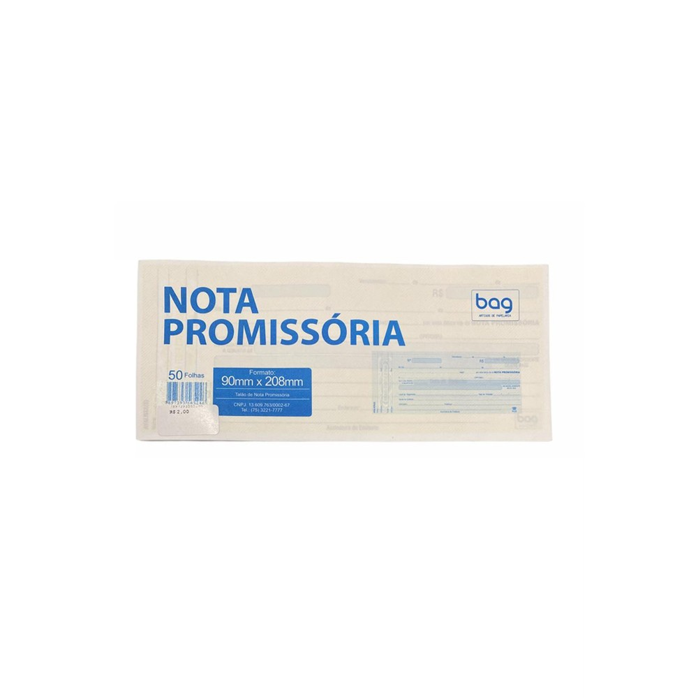 Nota Promissoria Bag  - Papel Pautado