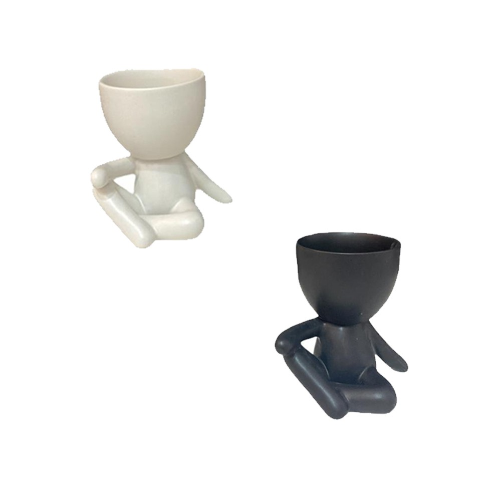 Vaso de Porcelana Boneco Sentado  - Papel Pautado