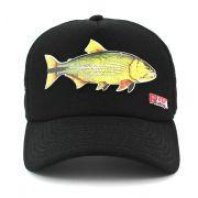 Boné Pesca Preto Aba Curva Peixe Dourado com Ajuste de Tamanho