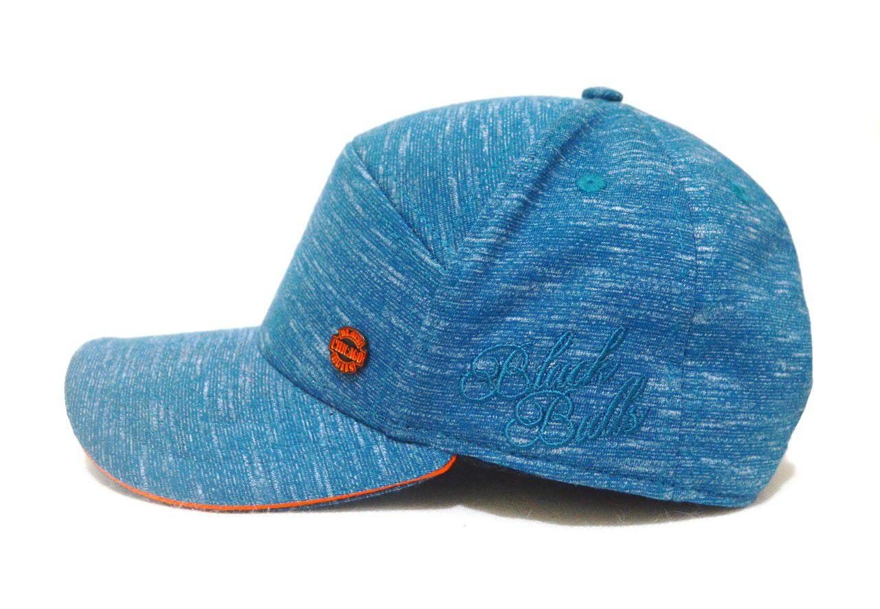 Boné Aba Curva Azul Aço com Detalhes em Laranja e Ajuste de Tamanho Snapback - Lindo!