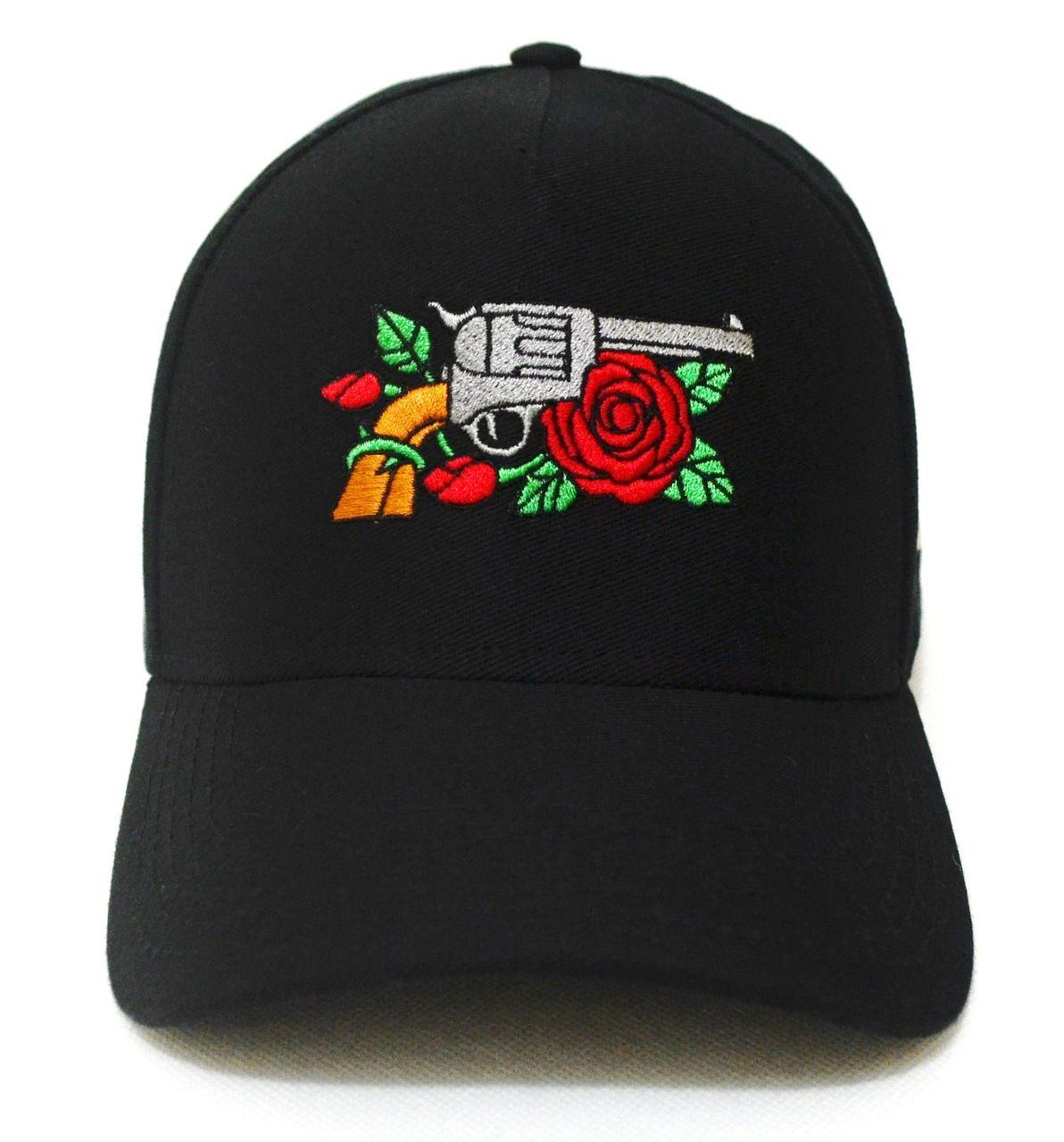 Boné Armas e Rosas Preto Tiger Aba Curva Snapback c64a0527aec