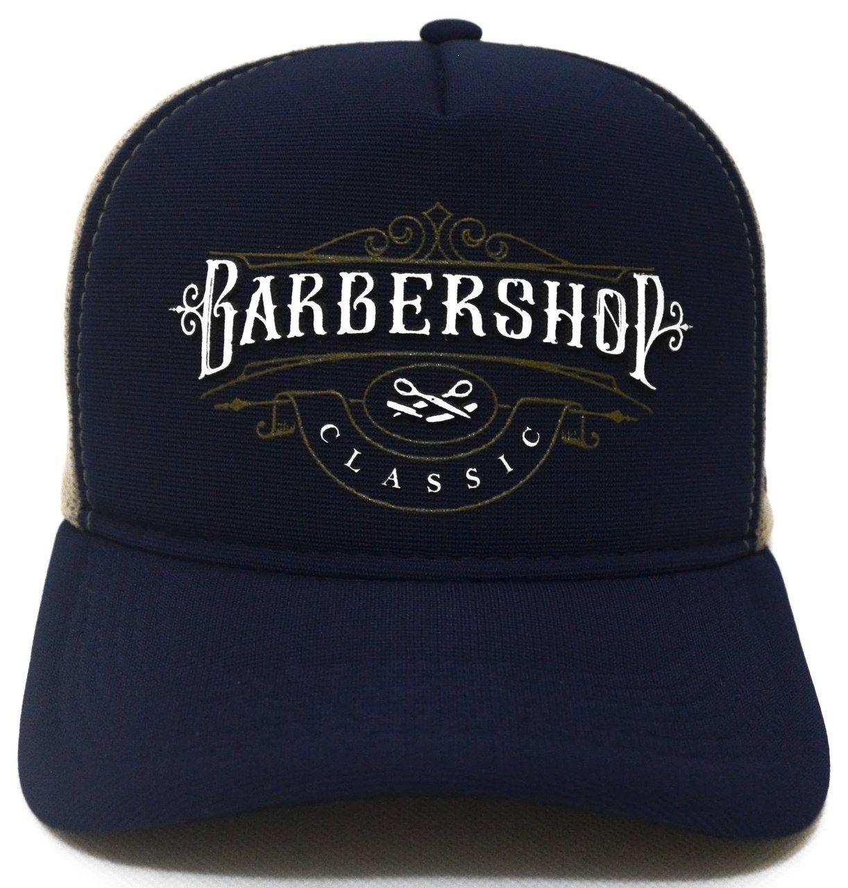 bb2f60ac6443c Boné Barbershop Barbearia Aba Curva Classic Trucker Tela