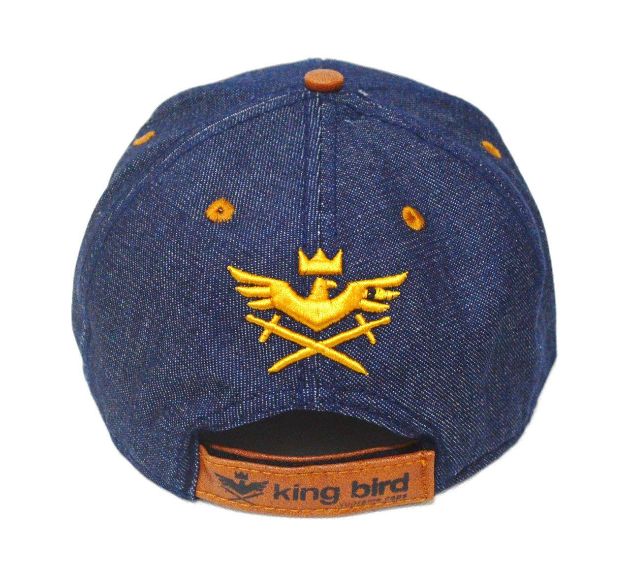 Boné Brooklyn King Bird Jeans Aba Reta Caramelo Unissex - Aberto com Ajuste de Tamanho Snapback