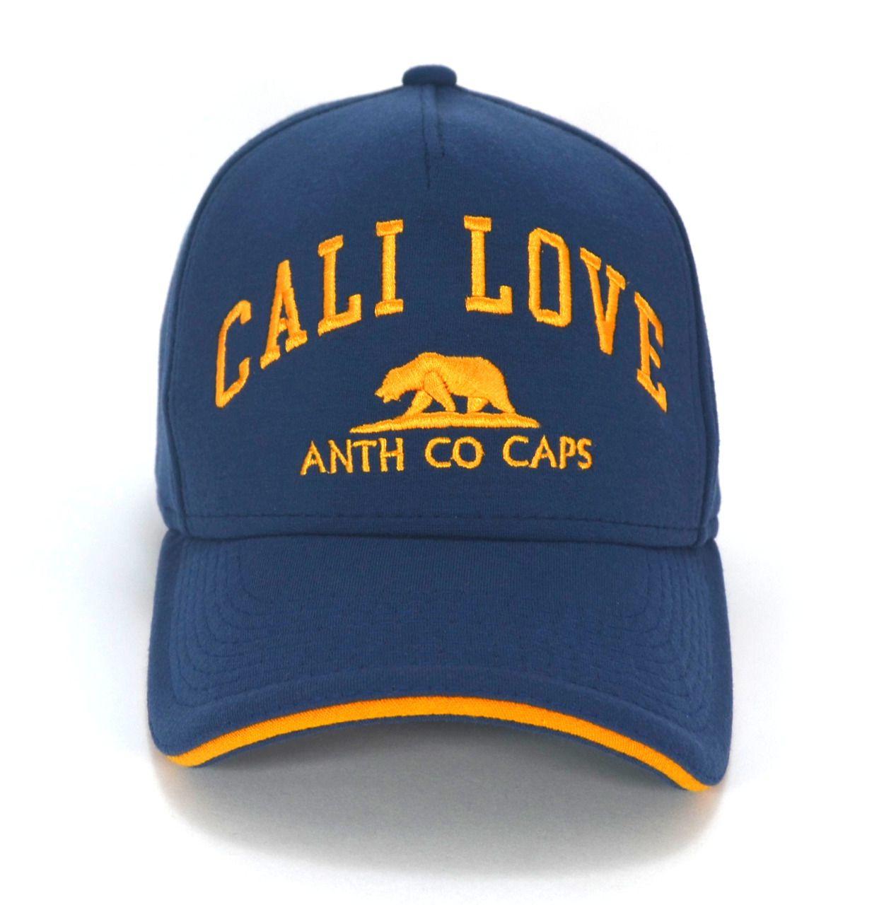 Boné California Masculino Feminino Anth Co Cali Love Urso Azul e Amarelo