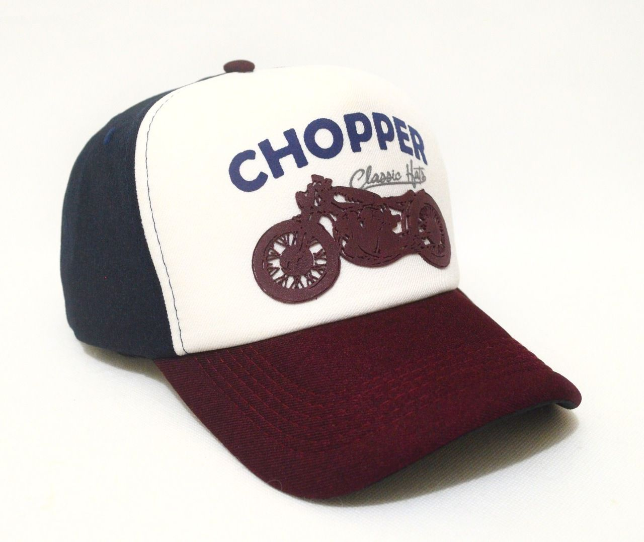 Boné Chopper Motos Custom Aba Curva Tricolor