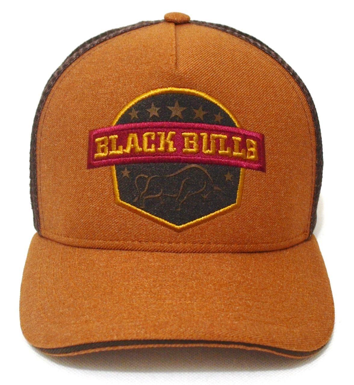 Boné Country Black Bulls Aba Curva Trucker Tela Unissex