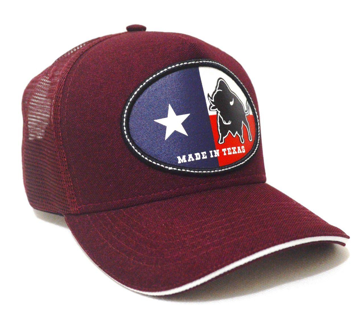 Boné Country Made in Texas Aba Curva Trucker Tela Unissex