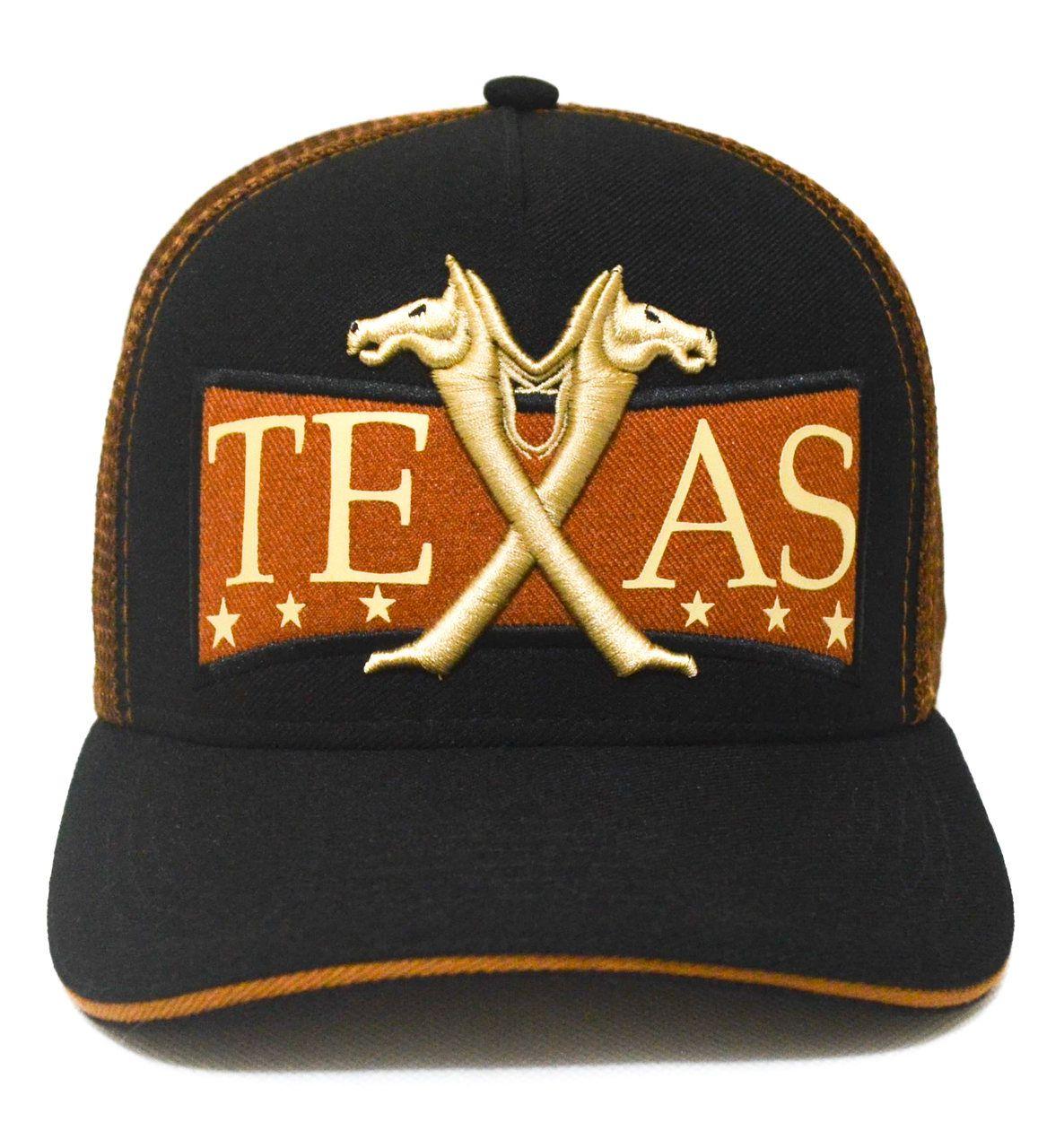 ae5ab383361c2 Boné Country Texas Aba Curva Preto e Dourado Queimado Feminino Masculino