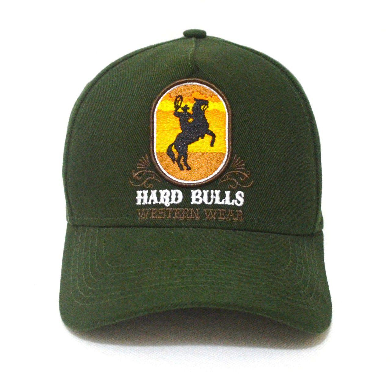 7ae8bd6a36412 Boné Country Verde Militar Hard Bulls Western Wear Aba Curva