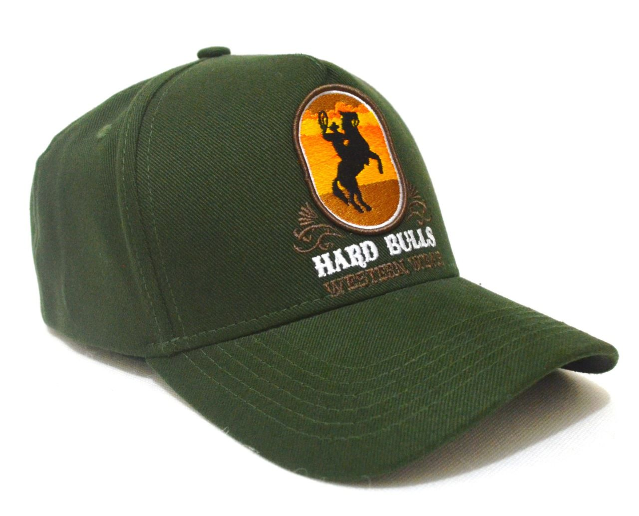 Boné Country Verde Militar Hard Bulls Western Wear Aba Curva