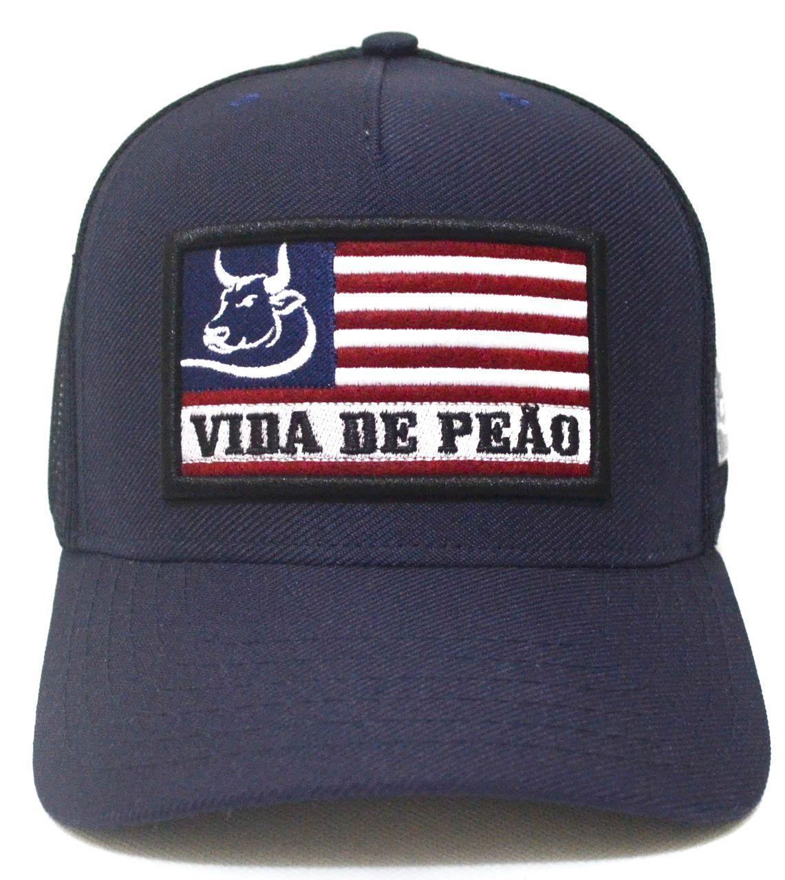 bafff763d6c49 Boné Country Vida De Peão Azul Aba Curva Feminino Masculino Trucker Tela