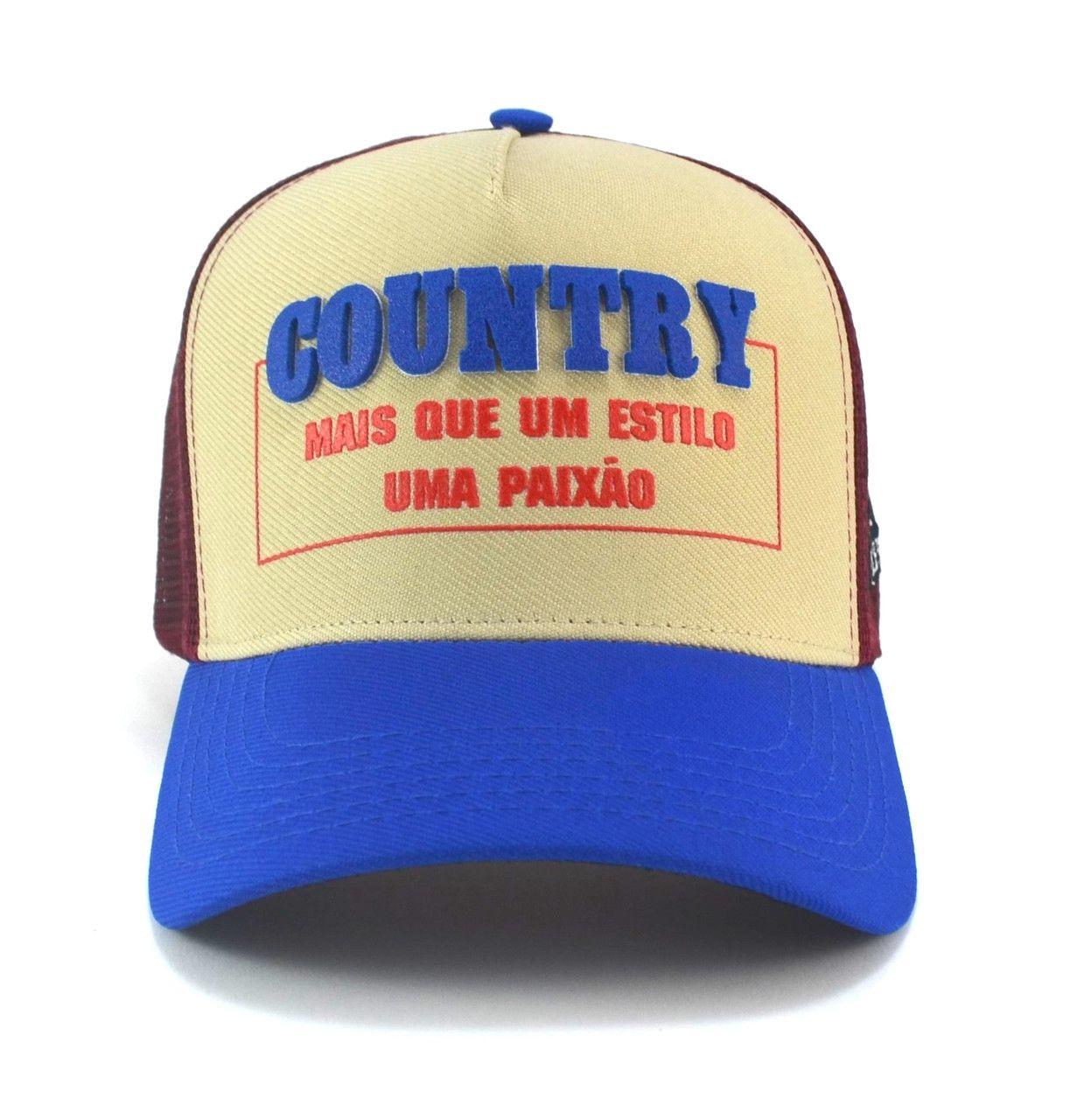 Boné Frases Country Unisex Aba Curva Trucker Tela com Ajuste de Tamanho