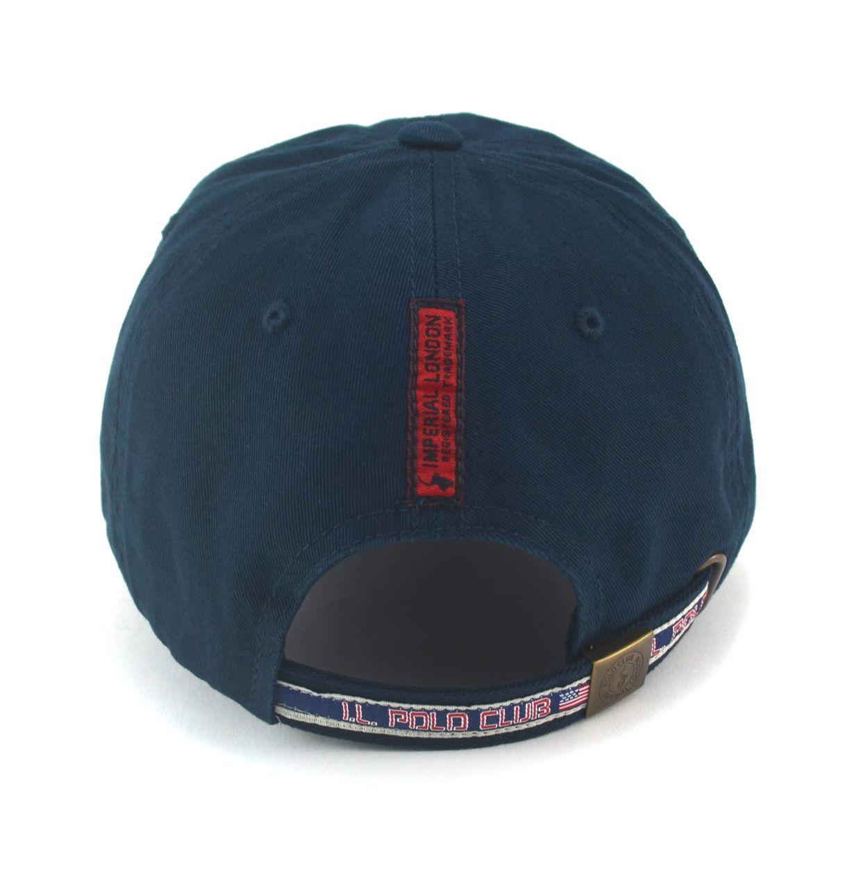 Boné Importado Polo Imperial London Aba Curva Fita Strapback Azul Marinho