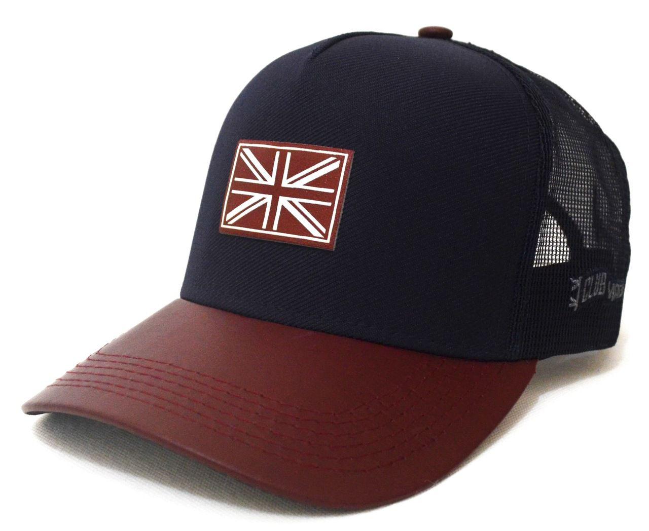 Boné Inglaterra Azul Marinho Aba Curva Vinho Unissex England 6134d2fdf52