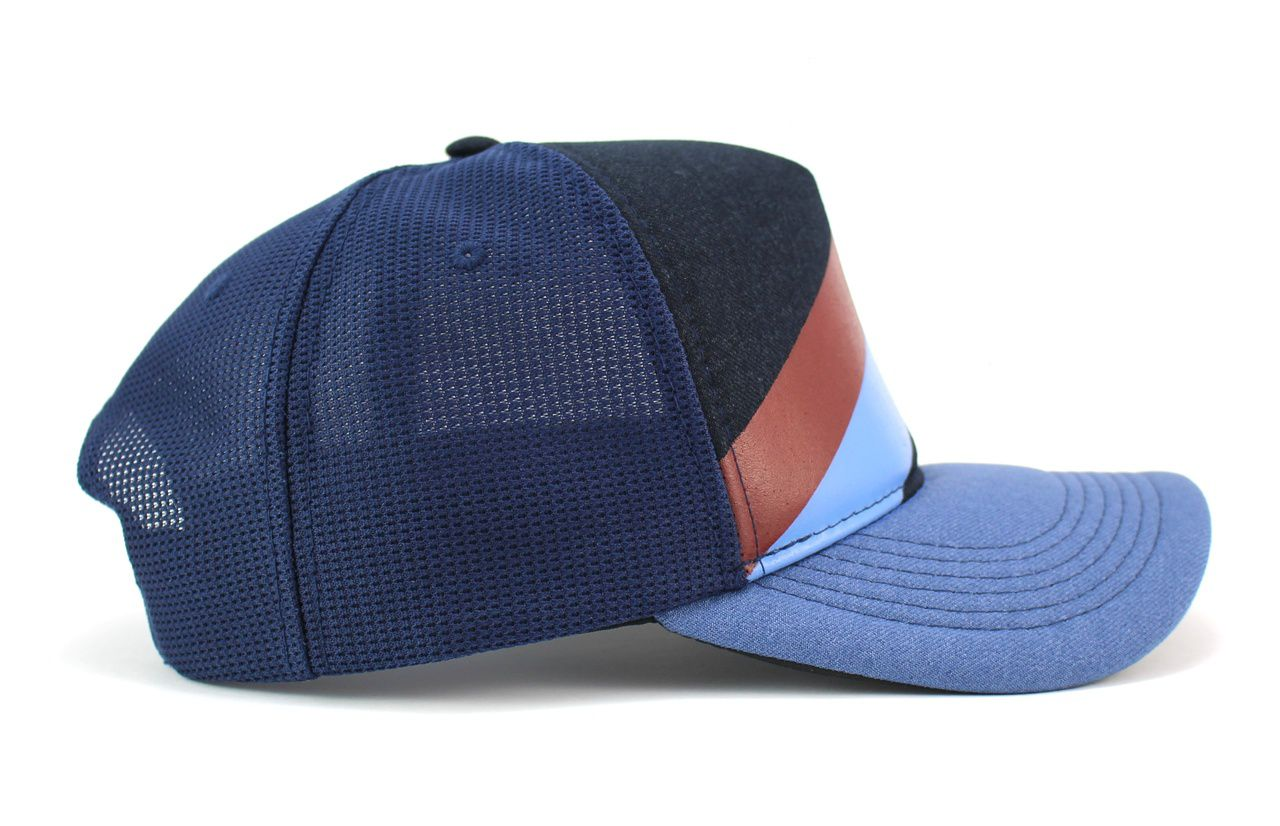 Boné New York Azul Trucker Tela Aba Curva Snapback - Classic Hats