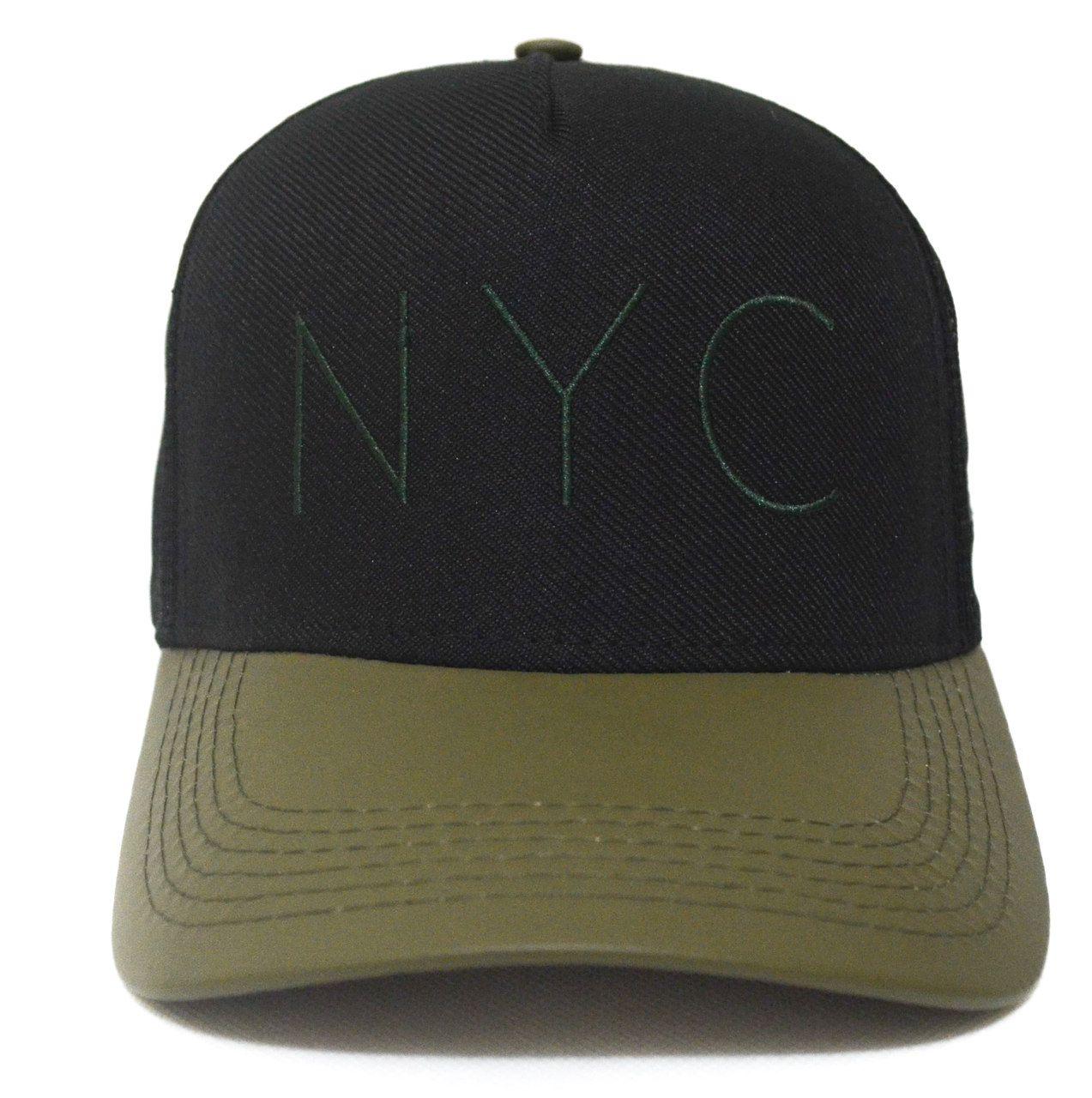 Boné NYC Preto e Verde Olive Feminino Masculino com Regulagem de Tamanho