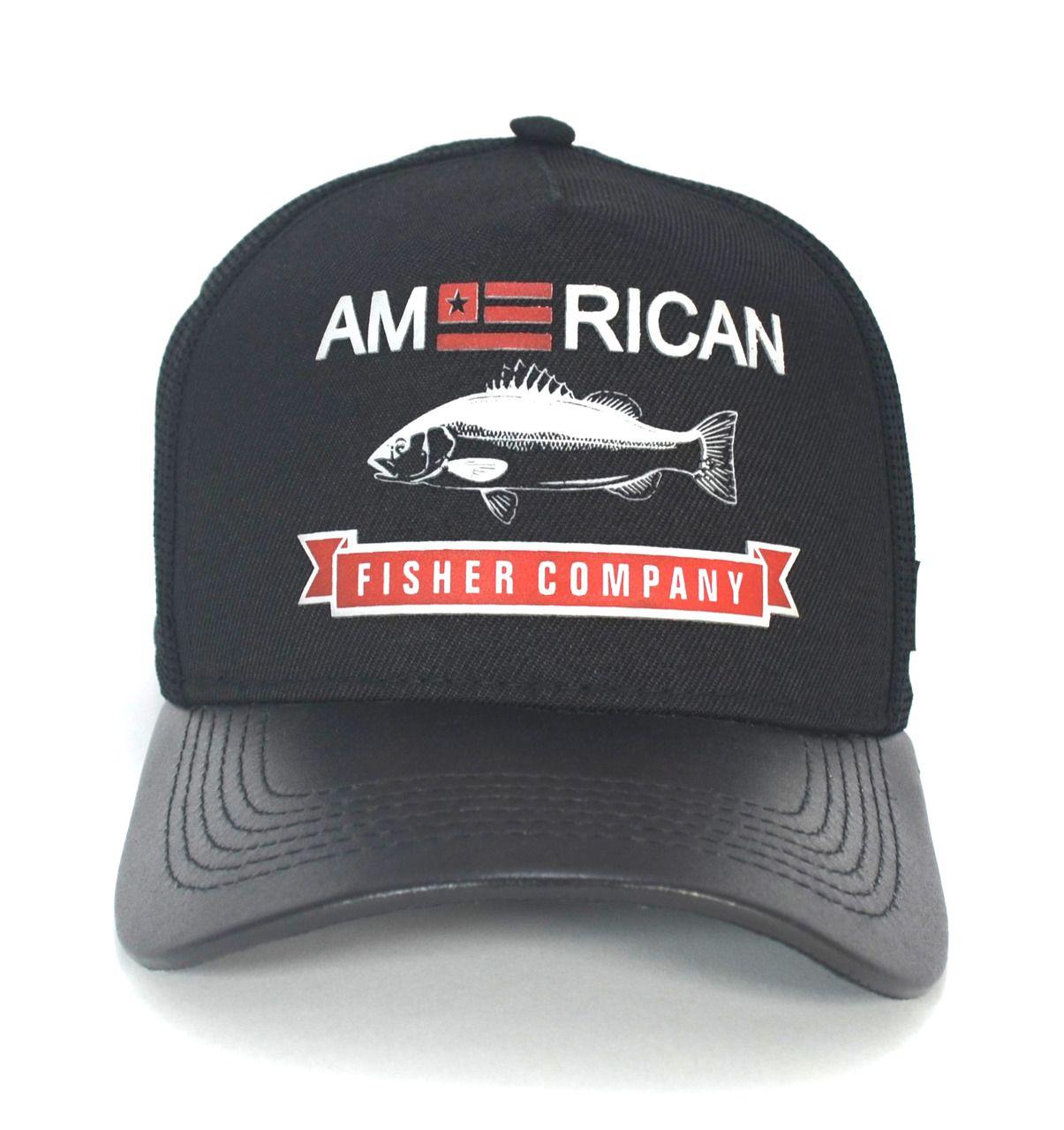 Boné Pesca Pescaria Preto Masculino Feminino Trucker Tela American Fisher Company