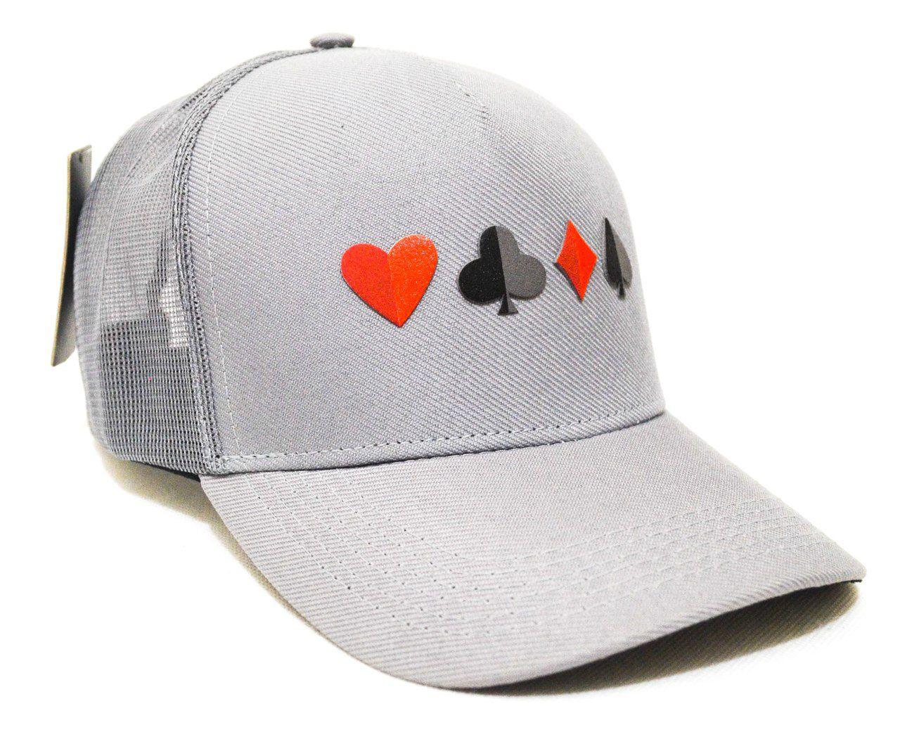 Boné Poker Naipes Cinza Aba Curva Snapback - Zap Copas Ouros Valete