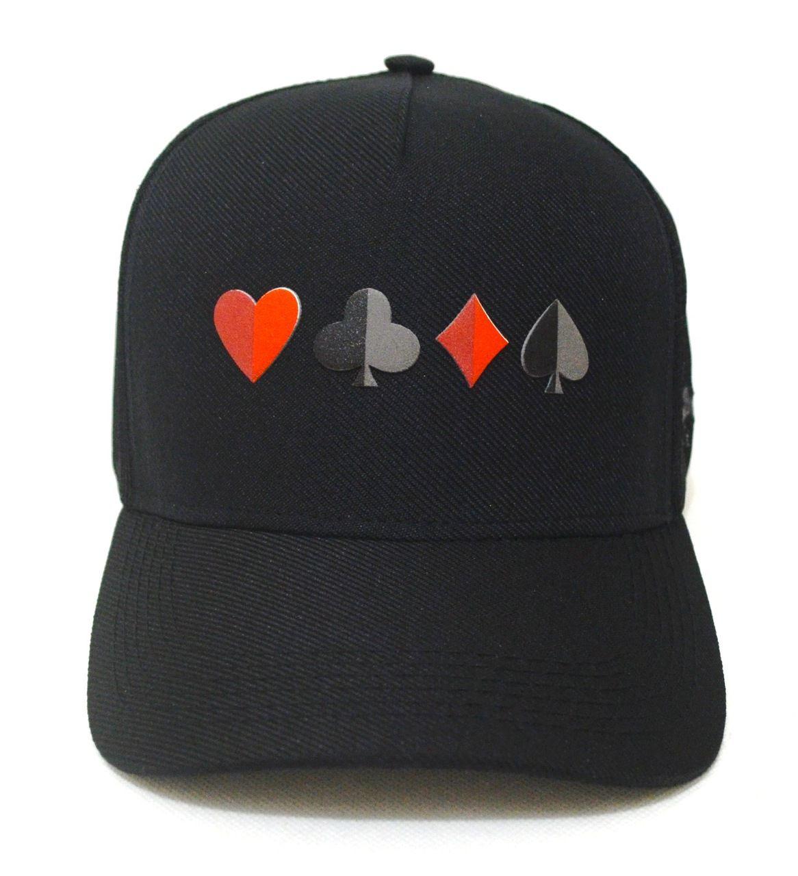 Boné Poker Naipes Preto Aba Curva Snapback - Zap Copas Ouros Valete ae4ba09fb3dd1