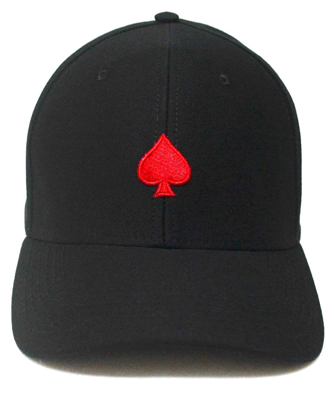Boné Poker Preto Naipes Espadas Aba Curva De Fita Strapback c15a0f8c6a158
