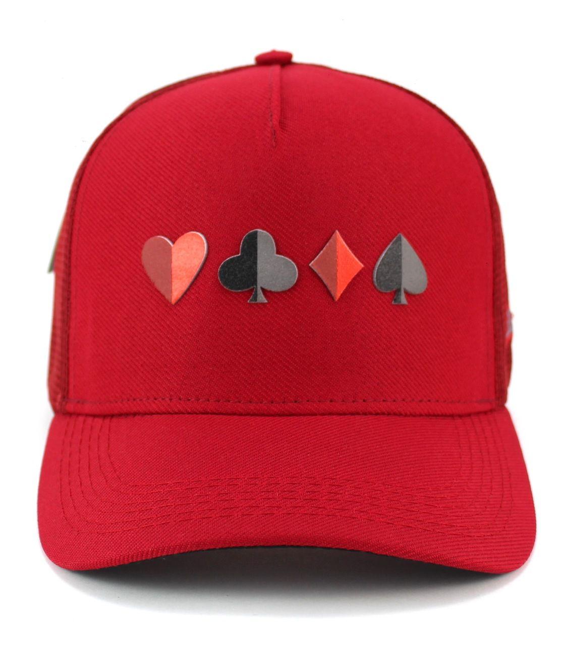 Boné Poker Vermelho Aba Curva Snapback Naipes - Trucker Tela