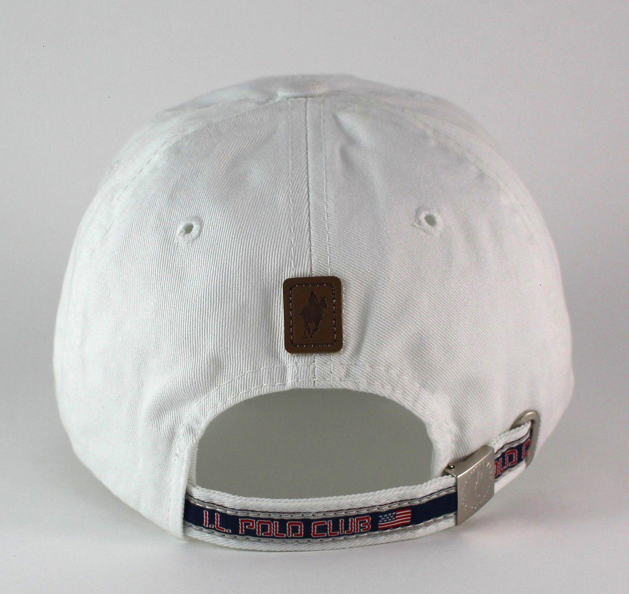 Boné Polo Imperial London Branco Aba Curva Strapback de Fita Unisex Importado