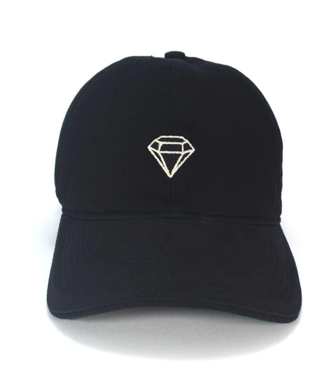 Boné Preto Diamante Aba Curva Masculino Feminino Strapback de Fita Club Made